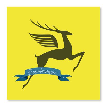 Carte bourbonnais jaune cerf gris
