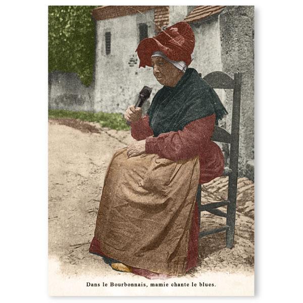Carte postale n°106 sur papier cartonné mamie