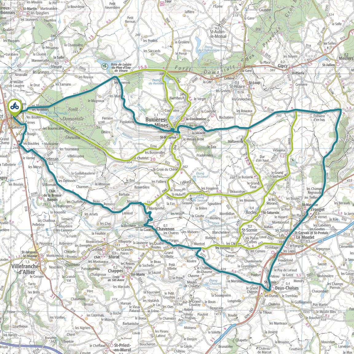 Tracé GPS du circuit 9 : Bocage bourbonnais
