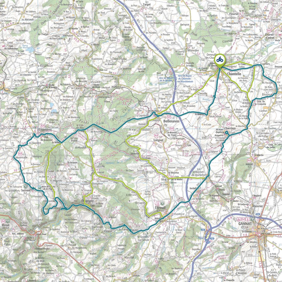 Tracé GPS du circuit 12 : De la Sioule à la Bouble