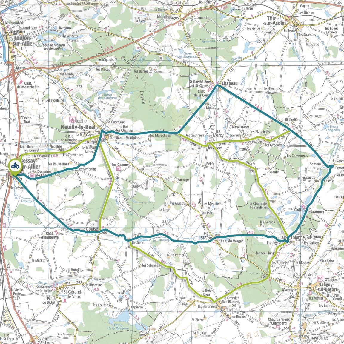 Tracé GPS du circuit 16 : Sologne bourbonnaise